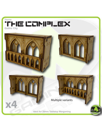 MAD Gaming Terrain Complex - Large Wall Gothic Windows Pack