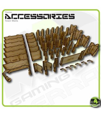 MAD Gaming Terrain Town Walls Standard pack with detail