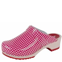 6006 Ruit Rood Clogs Dames