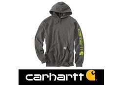 Carhartt Midweight Sleeve Logo Hooded Sweatshirt Carbon Heather Heren