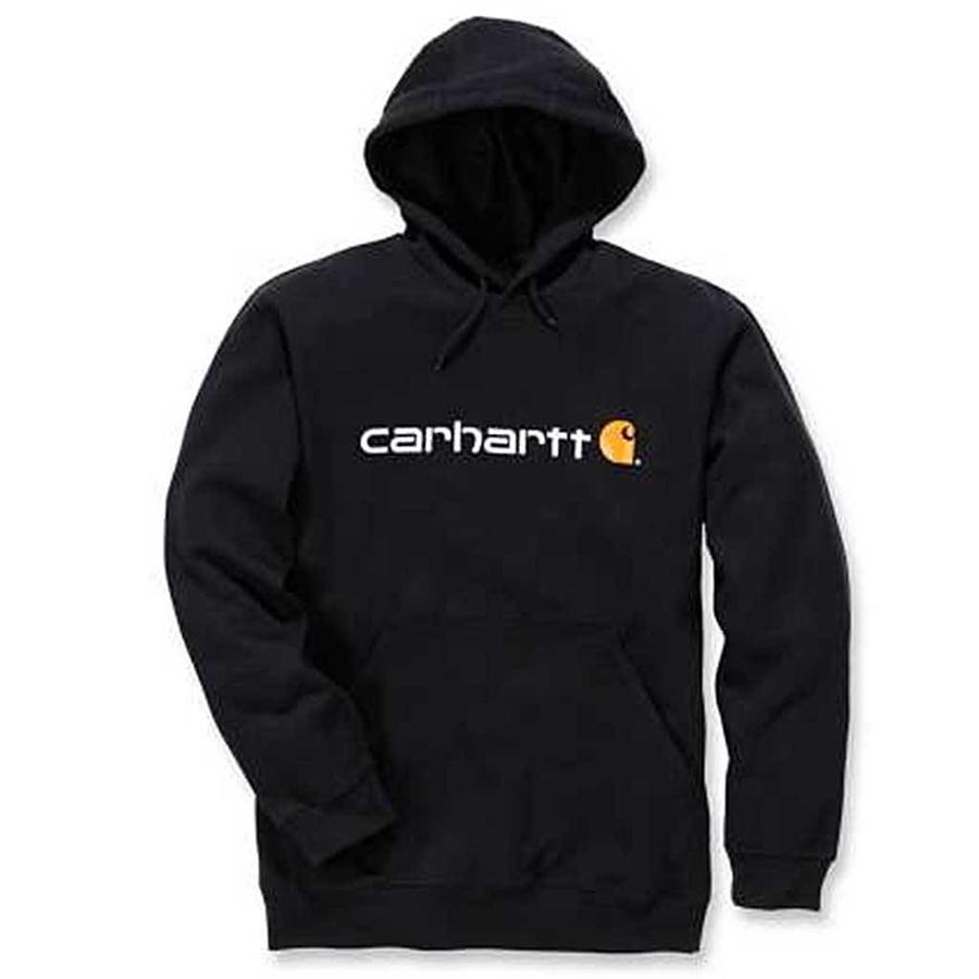 Signature Logo Hooded Sweatshirt Black Heren