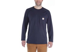 Carhartt Force Cotton L-S Navy T-Shirt Heren
