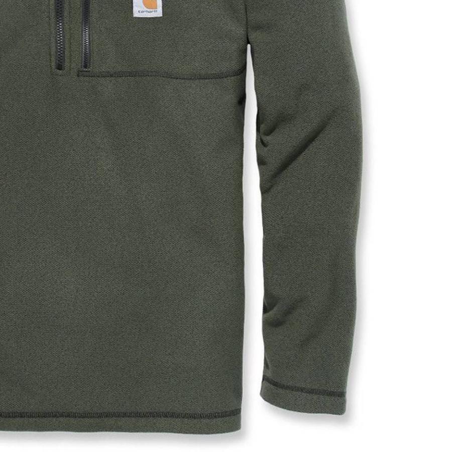 Fallon Half-Zip Sweatshirt Olive Vest Heren