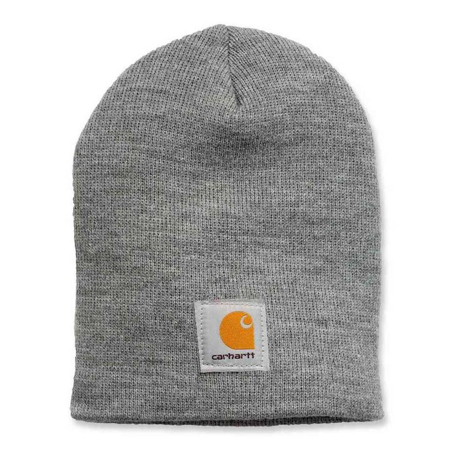Acrylic Knit Hat Heather Grey Muts Uniseks