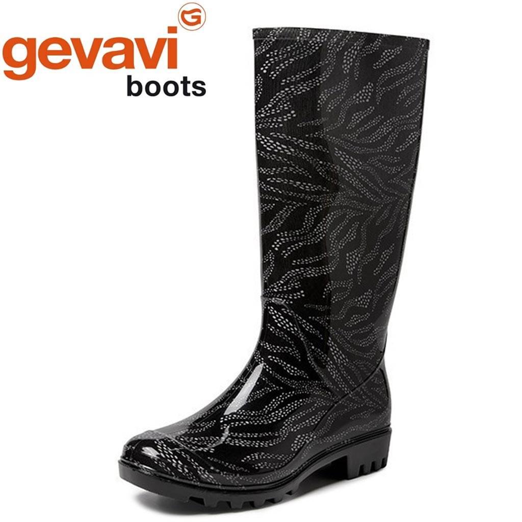 Gevavi Boots Elin PVC Zwart Regenlaarzen Dames