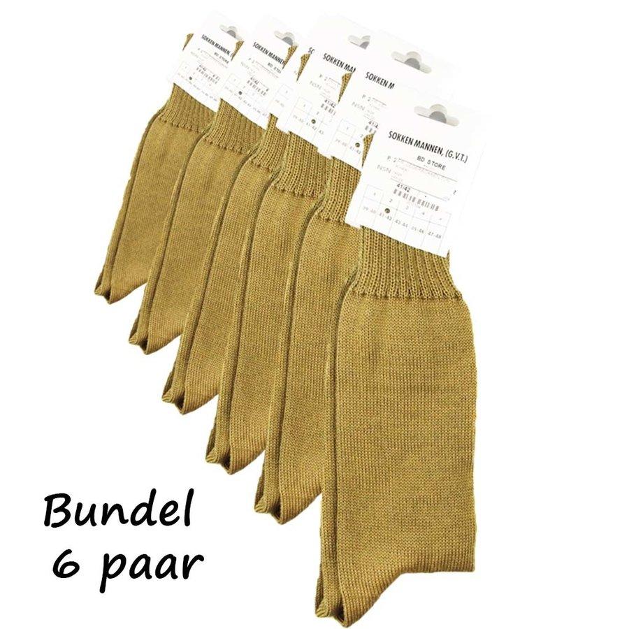 Aanbieding 6 Paar Nederlandse Legersokken Khaki Uniseks
