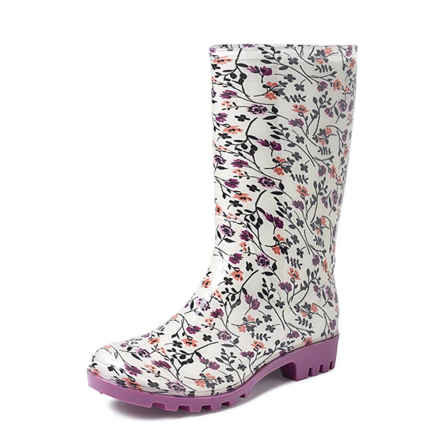 Gevavi Boots - Rose kinder- en dameslaars pvc wit bloem