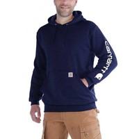 Midweight Sleeve Logo Hooded Navy Sweatshirt Heren