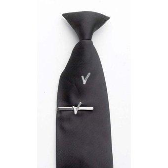 Clipstropdas zwart met V-embleem beveiliging