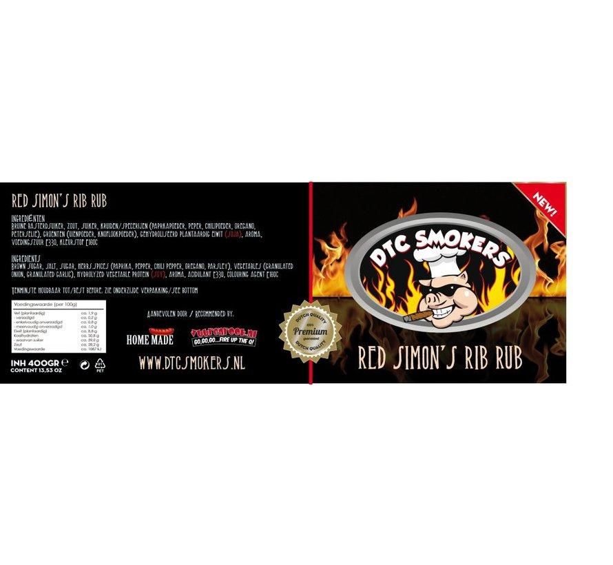 DTC Smokers Red Simon's Rib Rub 400 gram
