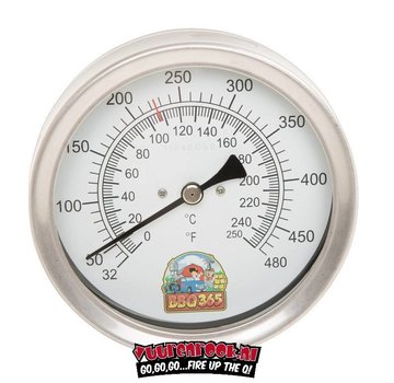 BBQ 365 BBQ365 stainless steel thermometer 125mm