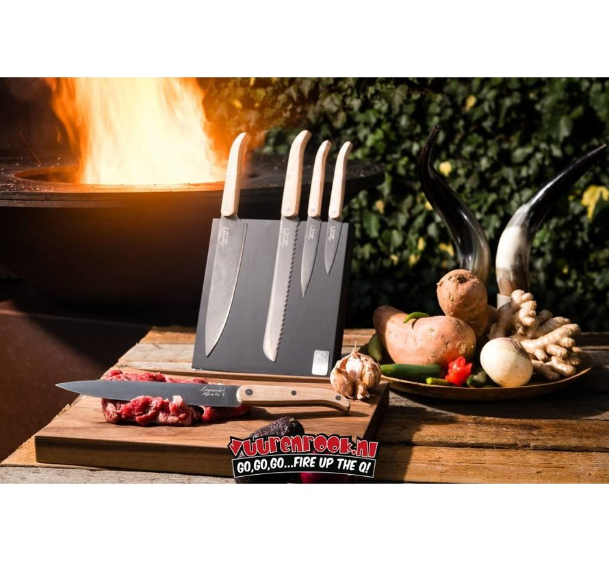 Laguiole Innovation Line Cooking Knife Set Oak + Magnetic plate