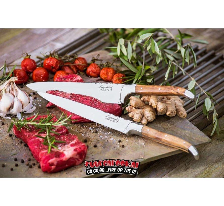 Laguiole Kochmesserset Olivenholz + Magnetischer Messerblock