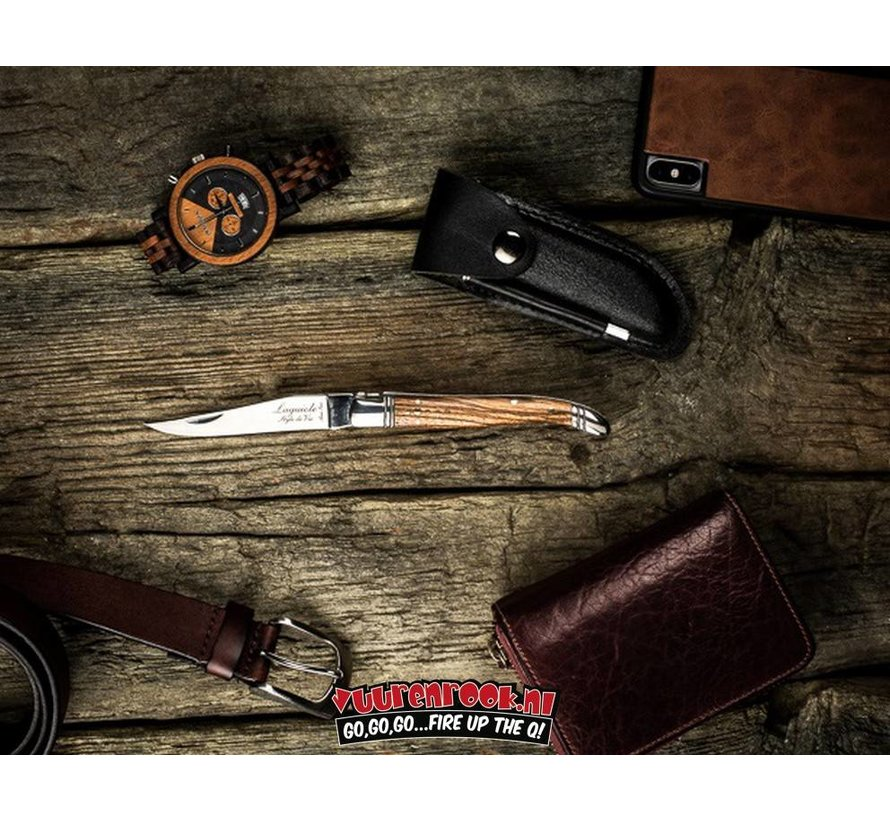 Laguiole Pocket Knife Zebrano Wood + Sharpening Steel And Leather Case