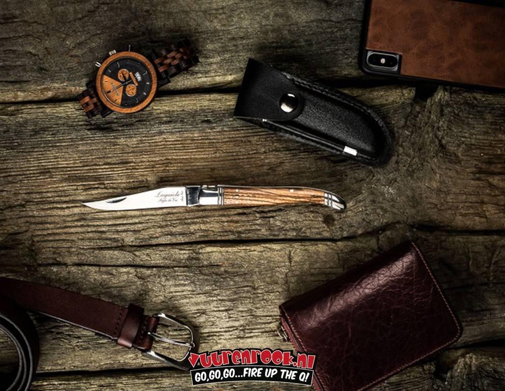 Laguiole Laguiole Taschenmesser Zebrano Holz + Schärfgehäuse Aus Stahl Und Leder