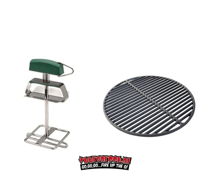 Big Green Egg Cast Iron Grate + Grid Lifter Large