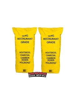 Vuur&Rook Yellow Bag Horeca South African Restaurant Grade Lump Charcoal 100% Black Wattle 10 kg Combodeal