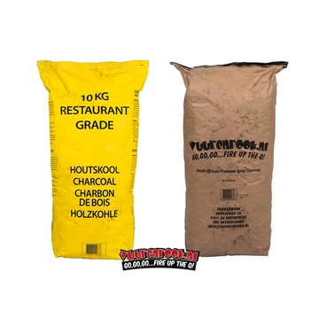 Vuur&Rook Horeca South African Restaurant Grade Lump Charcoal 100% Black Wattle 10 kg South African Deal