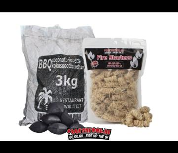 Hot Coconut Briketten Pillow Shape 3 kg  / Wokkels Deal