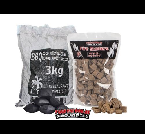 Hot Coconut Briketten Pillow Shape 3 kg / Aanmaakblokjes Deal