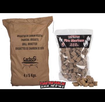 Carbosi Carbosi Spaanse Eco Briketten (Eucalyptus, Walnoot en Eik) (Pillow Shape) / Aanmaakblokjes Deal 20 kg