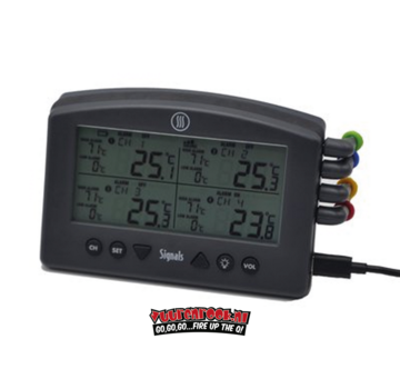 Thermapen Thermoworks Signale 4-Kanal Wi-Fi / Bluetooth BBQ Alarm Thermometer Schwarz (Holzkohle)