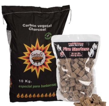 Carbosi Carbosi Spanisch ECO Holzkohle Eukalyptus, Walnuss & Eiche / Feueranzünder Deal 10 kg