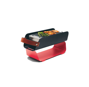 Una UNA Portable Table Top Charcoal Grill - Strawberry Red