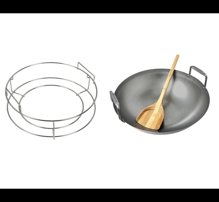 Big Green Egg ConvEGGtor Basket Large + Carbon Steel Wok