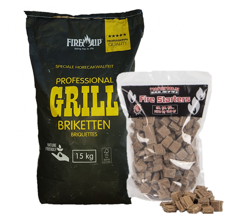 PEKO / Fire Up, Horeca Acacia (South Africa Black Wattle) Briquettes 15 kg / Firelighters Deal