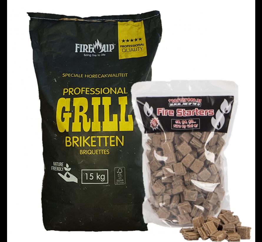 PEKO / Fire Up, Horeca Acacia (Zuid Afrika Black Wattle) Briketten 15 kg / Aanmaakblokjes Deal