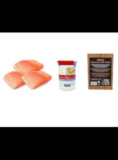 Vuur&Rook Norwegisches Lachsfilet 3 x 200 Gramm + Verstegen Mix + Cedar Planks 3 Stück Deal