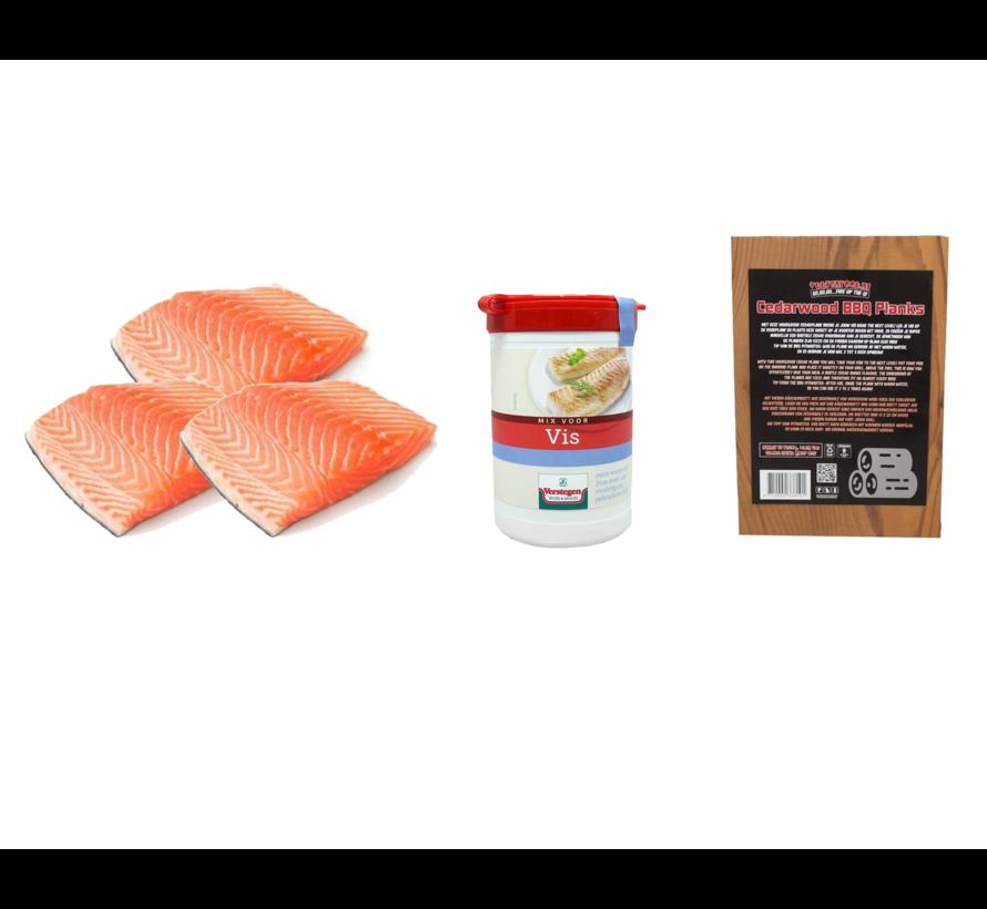 Norwegisches Lachsfilet 3 x 200 Gramm + Verstegen Mix + Cedar Planks 3 Stück Deal