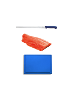 Vuur&Rook Hängender kaltgeräucherter norwegischer Lachs 1000 Gramm + F-Dick Pro Lachsmesser + Kunststoff-Schneidebrett-Deal