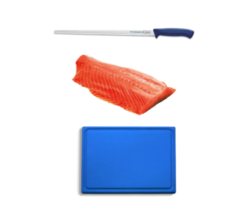 Vuur&Rook Hanging Cold Smoked Norwegian Salmon 1000 grams + F-Dick Pro Salmon Knife + Plastic Cutting Board Deal