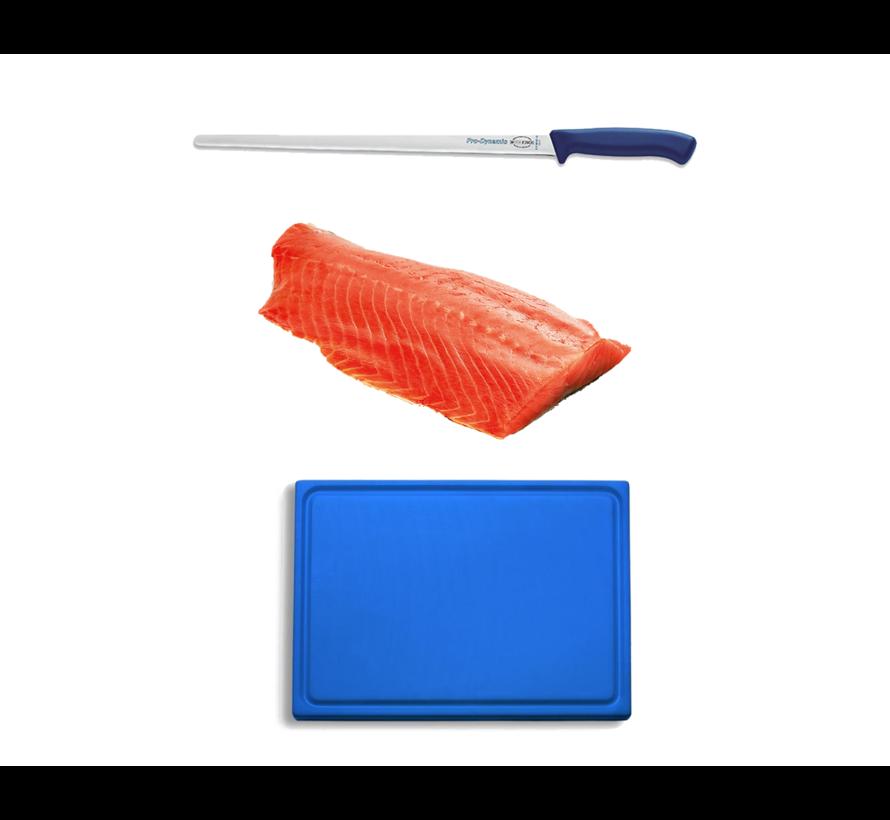 Hängender kaltgeräucherter norwegischer Lachs 1000 Gramm + F-Dick Pro Lachsmesser + Kunststoff-Schneidebrett-Deal