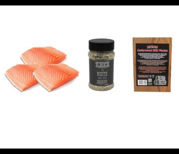 Vuur&Rook Noorse Zalmfilet 3 x 200 gram + T-Rex White BBQ Rub + Ceder Planks 3 stuks Deal