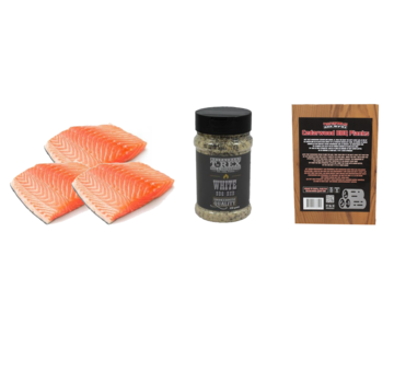 Vuur&Rook Noorse Zalmfilet 3 x 200 gram + T-Rex White BBQ Rub + Ceder Planks 3 stuks Deal