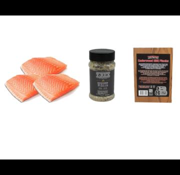 Vuur&Rook Norwegian Salmon Fillet 3 x 200 grams + T-Rex White BBQ Rub + Cedar Planks 3 pieces Deal