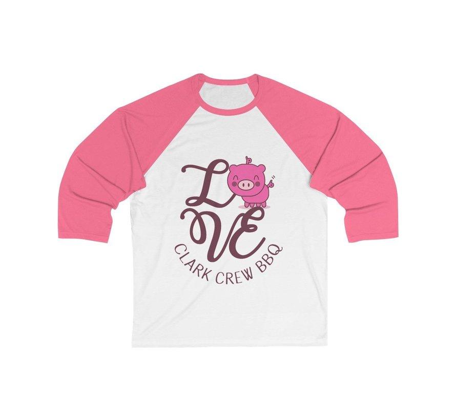 Clark Crew Lady's Baseball Sleeve 3/4  White / Neon Pink