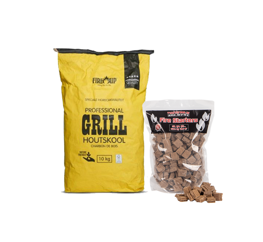 Peko / Fire Up Horeca Acacia Zuid Afrika Houtskool / Aanmaakblokjes Deal 10 kg