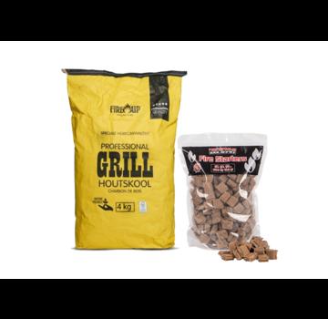 Peko Peko / Fire Up Horeca Acacia Zuid Afrika Black Wattle Charcoal / Aanmaakblokjes Deal 4 kg
