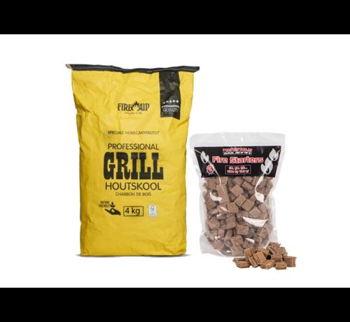 Peko Peko / Fire Up Horeca Acacia Zuid Afrika Black Wattle Houtskool / Aanmaakblokjes Deal 4 kg