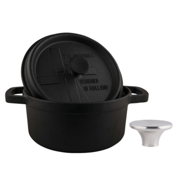 The Windmill Cast Iron The Windmill BBQ Pan With Lid 2l + Stainless Steel Button Small