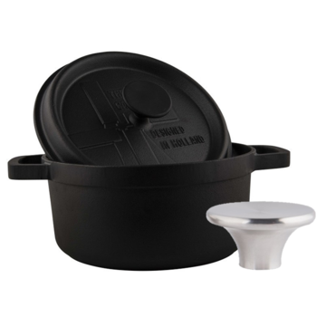 The Windmill Cast Iron The Windmill BBQ Pan With Lid 3.5l + Stainless Steel Button Large