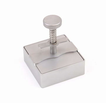 Vuur&Rook Stainless Steel Burgerpress Square 90mm