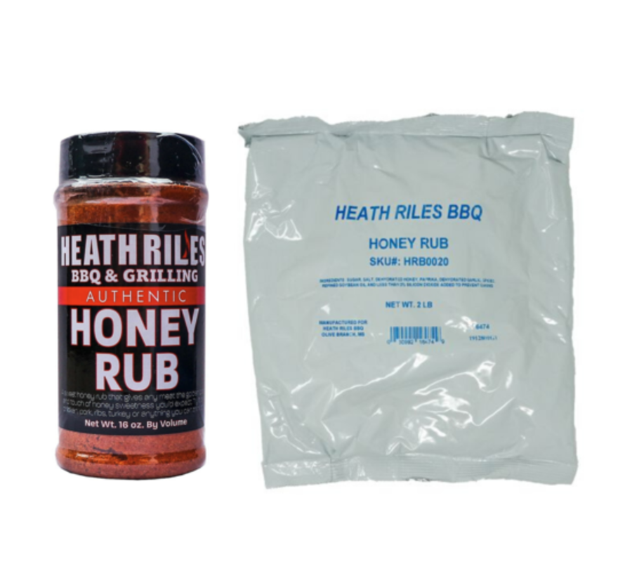 Heath Riles Honey Rub Shaker  16 oz + Refill Bag 2 lb Combo
