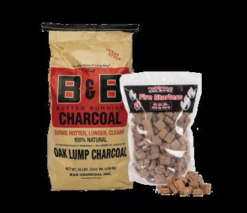 B&B B&B Oak Lump Charcoal / Aanmaakblokjes Deal 9 kg