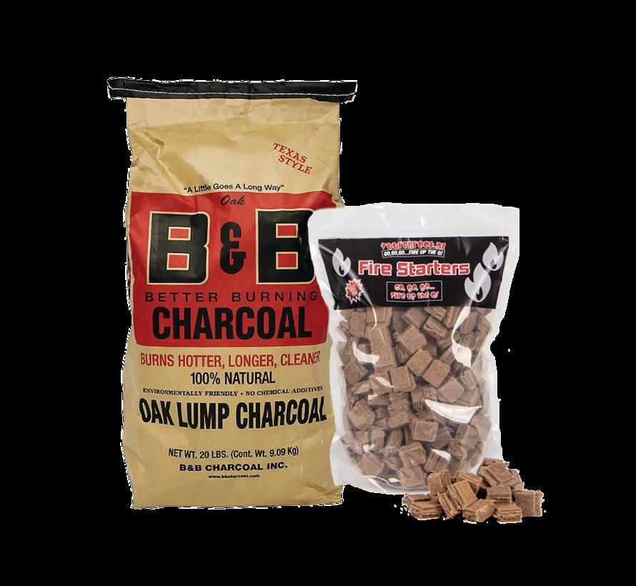 B&B Oak Lump Charcoal / Aanmaakblokjes Deal 9 kg