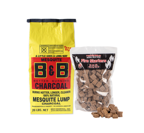 B&B B&B Mesquite Lump Charcoal / Aanmaakblokjes Deal 9 kg